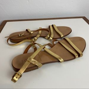 J CREW Strappy Gold Metallic Leather Sandals 7.5M
